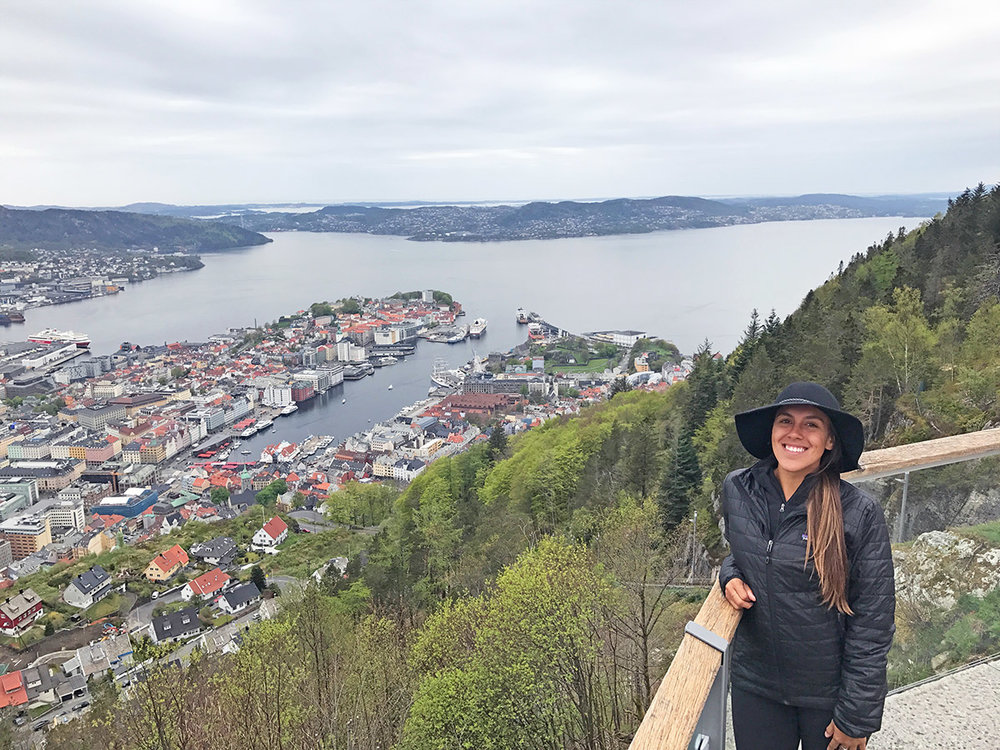 Sapphire & Elm co-founder,  stephanie  enjoying the view over Bergen.