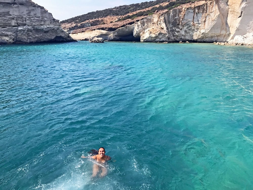 ridiculously blue water at Kleftiko beach in Milos, Greece