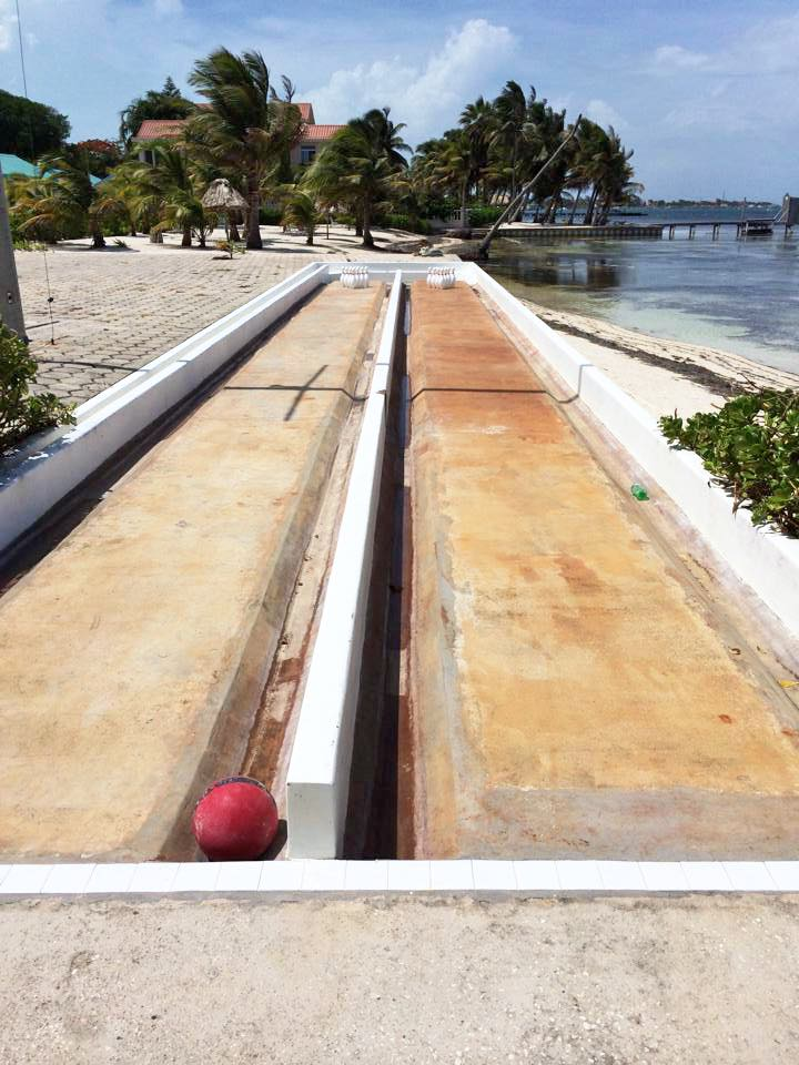 bowling on the beach on Ambergris Caye, Belize