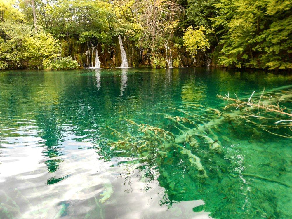clear lakes at Plitvice Lakes National Park Croatia